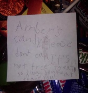 Ambers note on candy
