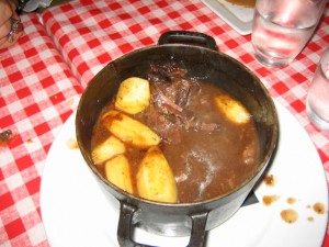 Linda had a beef stew that was luscious - like beef cream soup.