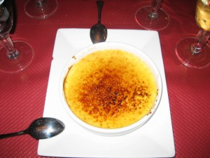 Creamy creme brulee for dessert. We all shared.