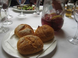 Believe it or not, gluten free rolls and a pitcher of Tinto.
